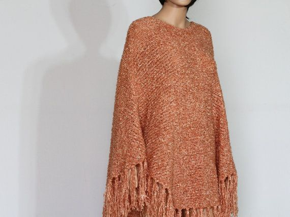 Knitting Pattern For Womens Poncho : DIY Hand Knit Poncho Womens Pullover Sweater Pattern ...