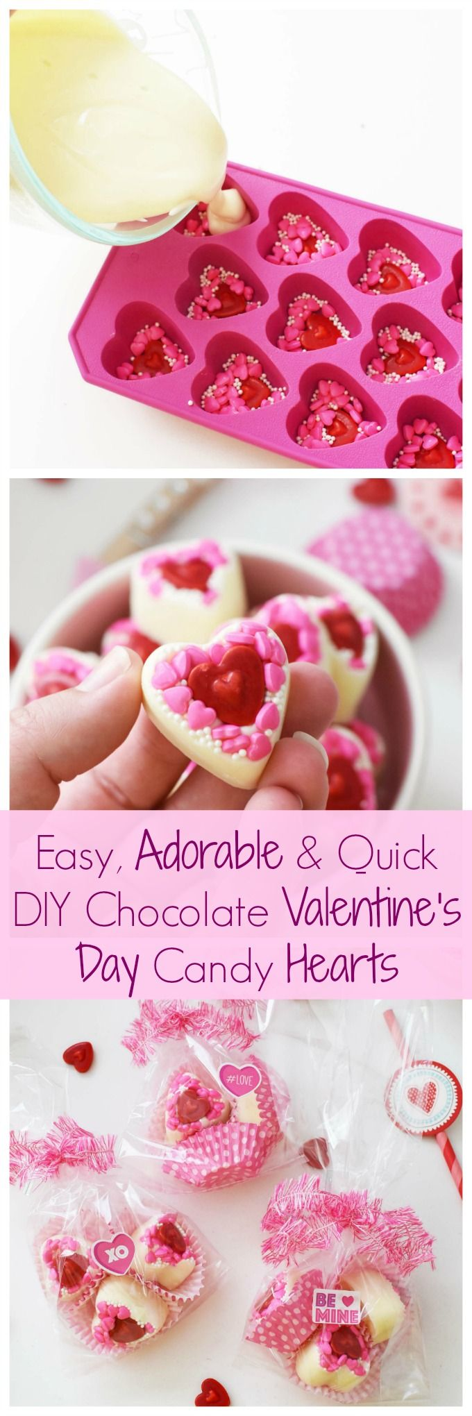 Easy, Adorable, & Quick DIY White Chocolate Valentine's Day Candy Hearts. Get the DIY for these adorable, homemade Valentine's Day treats today! via @savvysavingcoup AD