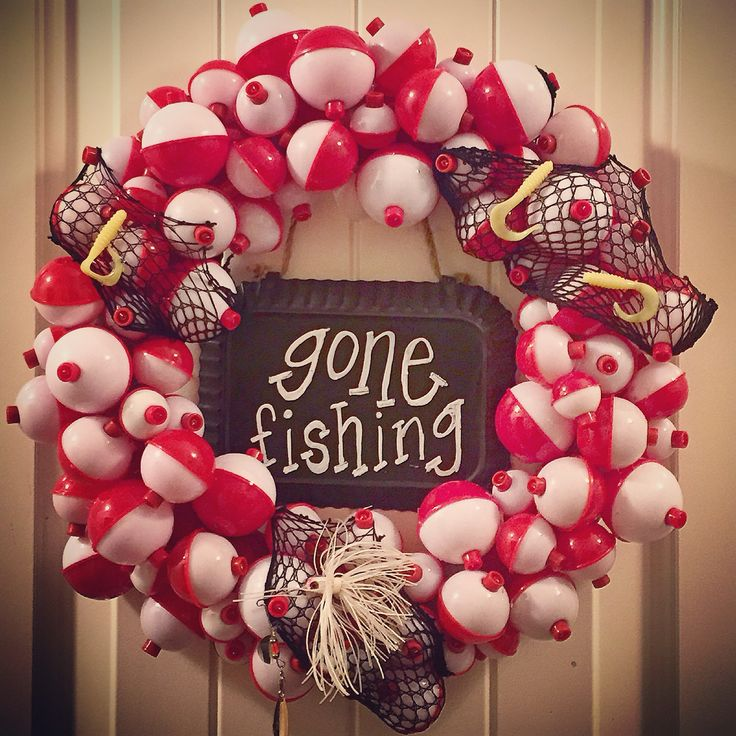 Fishing bobber wreath