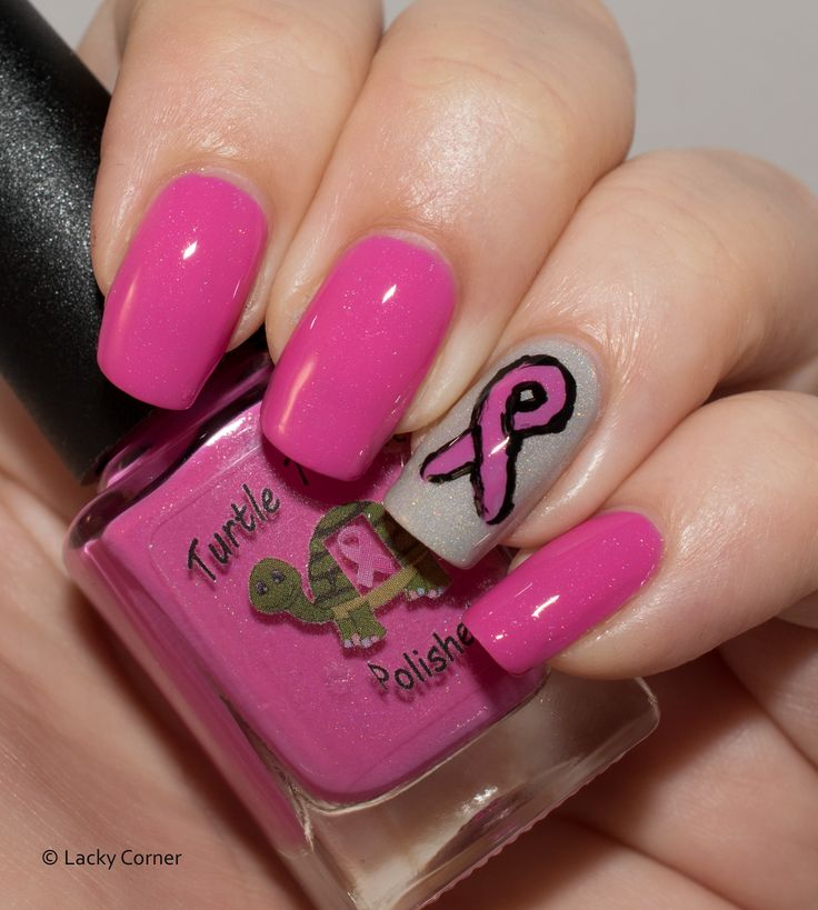 Lacky Corner: United In Pink - Turtle Tootsie Polishes Perseverance with a ribbon!