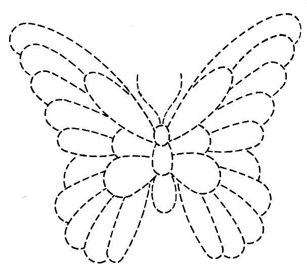 * Vlinder: volg de lijn met viltstift daarna inkleuren met potlood