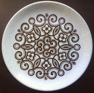 delilah vintage: Retro Bilton Ironstone Brown Swirl Pattern Plate