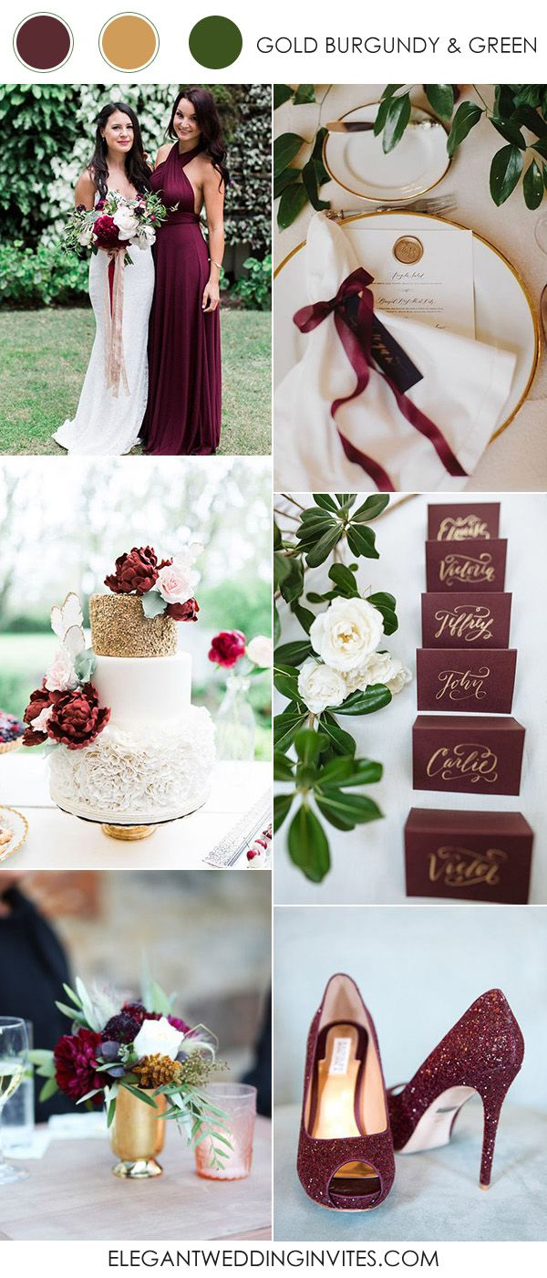 gold,burgundy and greenery spring and summer wedding colors