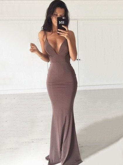 Hot Trumpet/Mermaid V-neck Jersey Sweep Train Ruffles Backless Prom Dresses