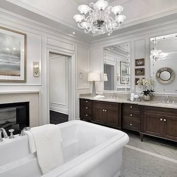 Double Sided Fireplace, Transitional, Bathroom, Tomas Pearce Interior Design