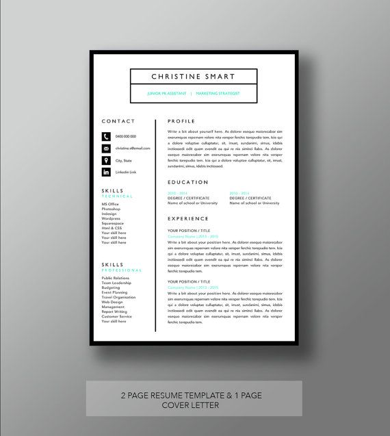 20 best Resume CV templates images on Pinterest Resume templates - resume 1 page