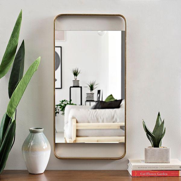 Gold Metal Open Rectangle Wall Mirror 15x30 In Mirror Mirror