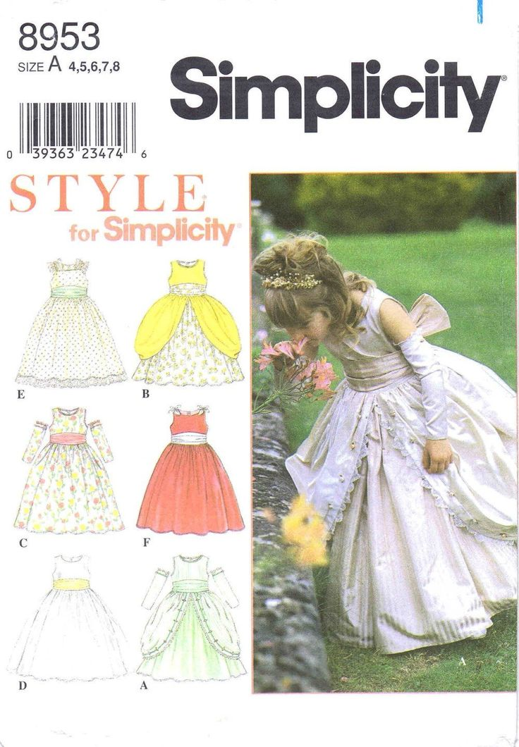 Simplicity 8953 Sewing Pattern Girls Dress Medieval Renaissance Cinderella Flower Girl Size 4 - 5 - 6 - 7 - 8