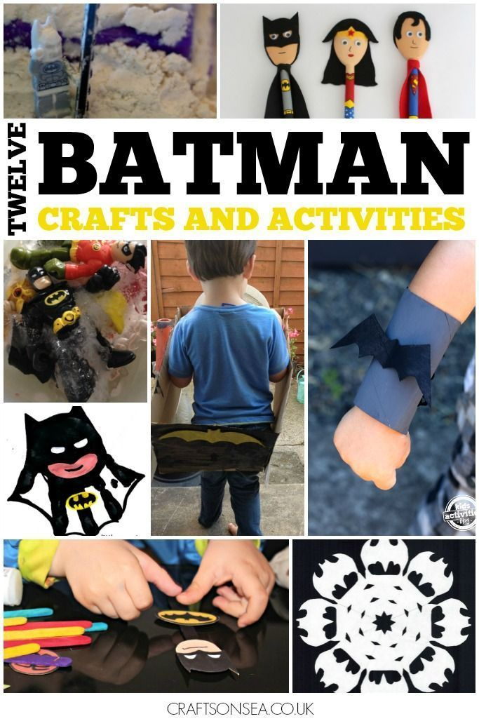 12 super fun Batman crafts and activities all tried and tested by kids! DIY batmobiles, batman science experiments, batman handprint crafts and more.