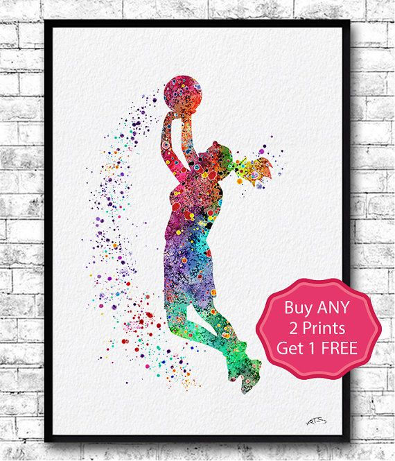 Basketball Girl Player Sports Art Print Watercolor by ArtsPrint