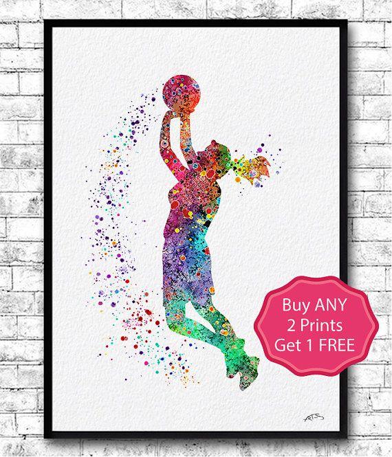 Basketball Girl Player Sports Art Print Watercolor by ArtsPrint