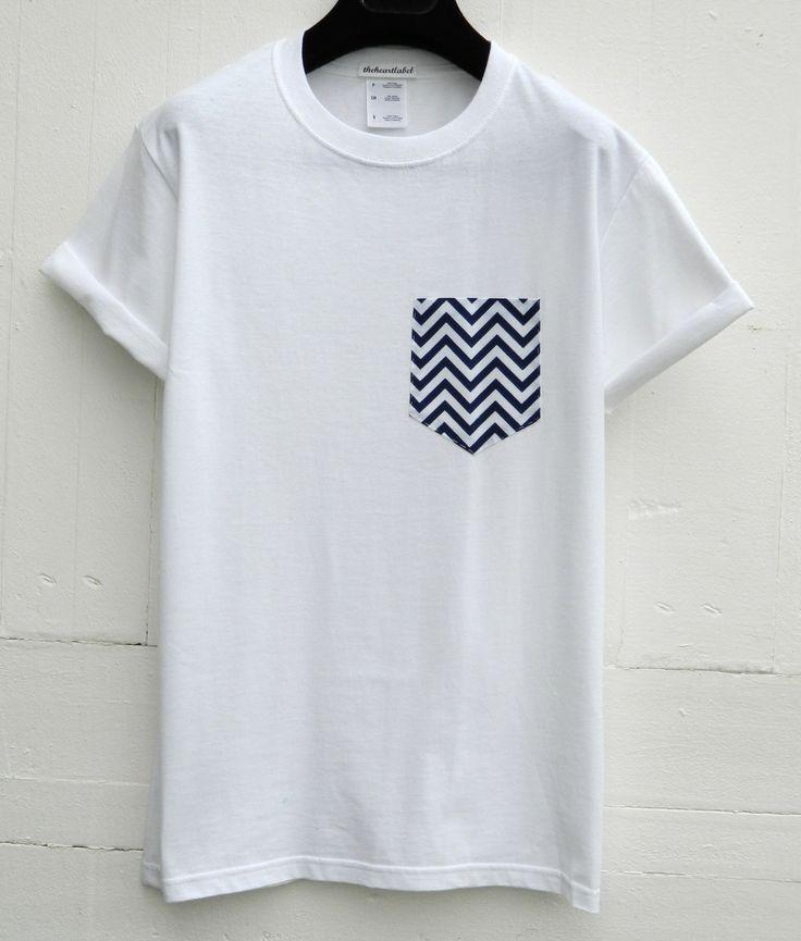 Men's Navy and White Chevron Pattern, White Pocket T-Shirt, Men's T- Shirt, Pocket tee, Unisex, Menswear, UK by HeartLabelTees on Etsy