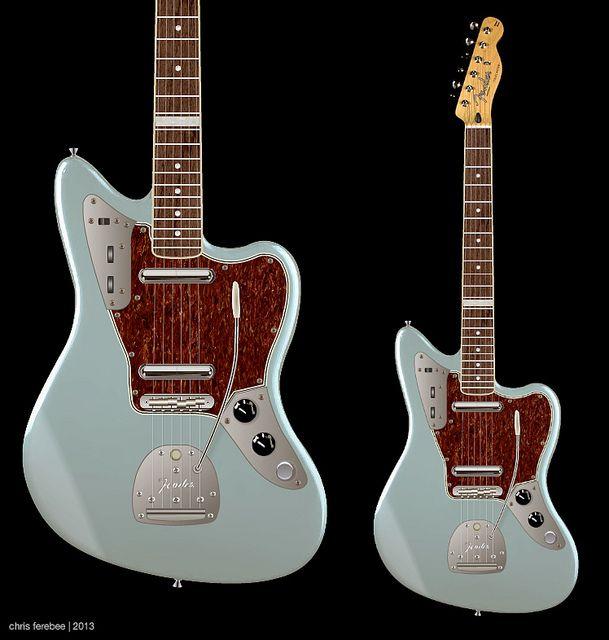 Fender Jaguar streamline hybrid - design/concept proposal for guitarist, Bill Frisell - modified Fender Jaguar/Telecaster hybrid | Chris Ferebee, 2013