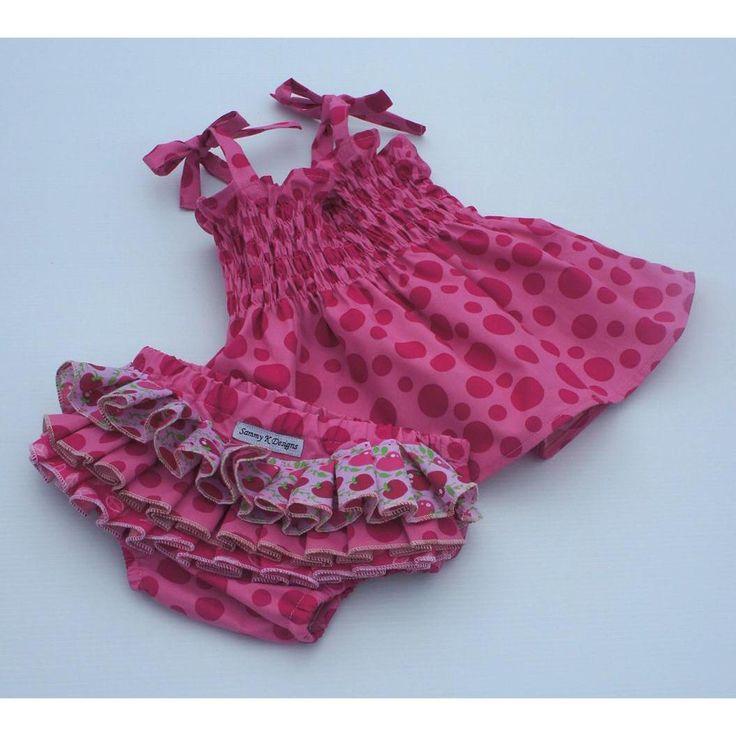 #ladybird2turtle #pinadayoct #handmadeforlittlegirls $60.00 Pink spotty ruffle set. Size 000 to 3 available to order by SammyKDesigns on Handmade Australia