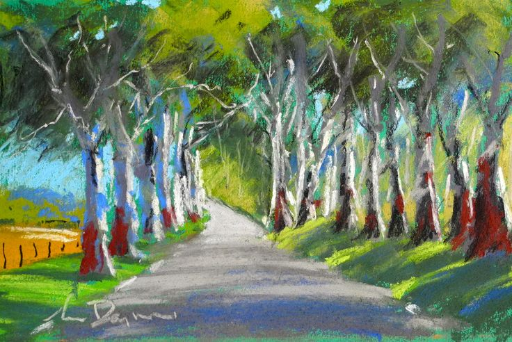 """10x8"""" pastel on card. """"Road to Inman Valley""""."""