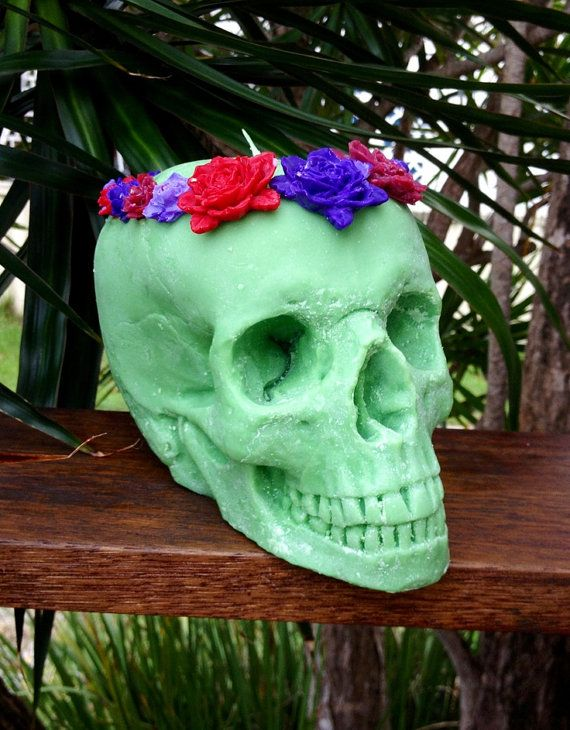 Large Green Skull Candle with Flower Crown by RogerandMolly, $40.00