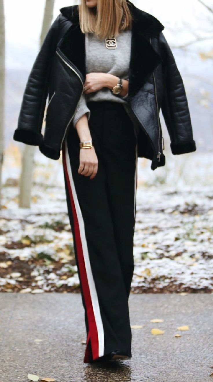 Cecelia New York Holly Wedge Bootie | Zara Trousers With Side Stripe | HM Oversized Faux Fur Biker Jacket | HM Fine Knit Sweater | Topshop Black Pearl Beret | fall fashion tips | fall style ideas | cool weather fashion || The Fashion Fuse #streetstyle #fallfashion #fallstyle