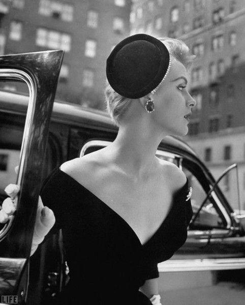 Nina Leen in Christian Dior's black silk faille cocktail dress