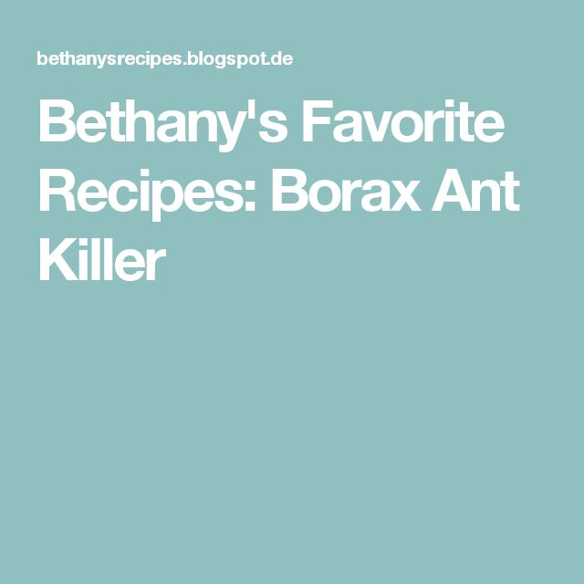 Bethany's Favorite Recipes: Borax Ant Killer