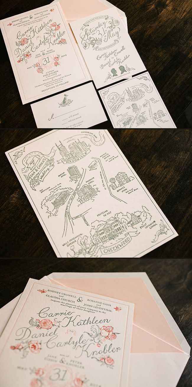 These custom letterpress wedding invitations were a collaboration between Papel New York and Smock for a vintage Nashville wedding at the Cheekwood Botanical Gardens & Art Museum