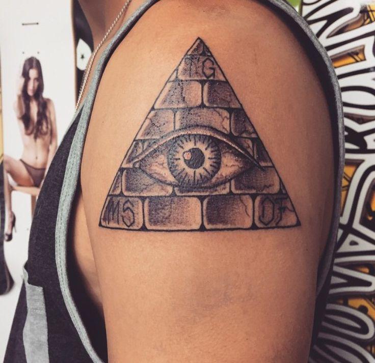 All seeing eye. Iris tattoo. Pyramid with the eye of providence. Triangle with eye tattoo. Illuminati. Triangle tattoo.