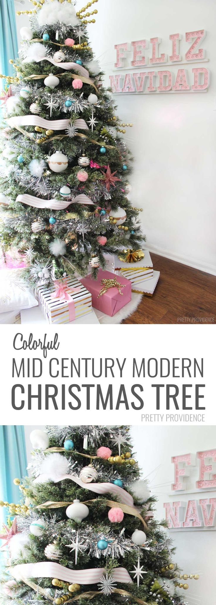 Oh WOW I love this modern colorful Christmas tree!!! And somehow literally everything is shatterproof and kid-friendly! YES! MichaelsMakers