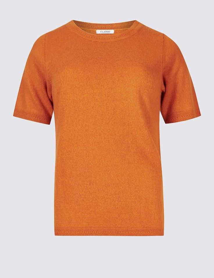 Marks & Spencer - hot bronze ribbed hem short sleeve knit top