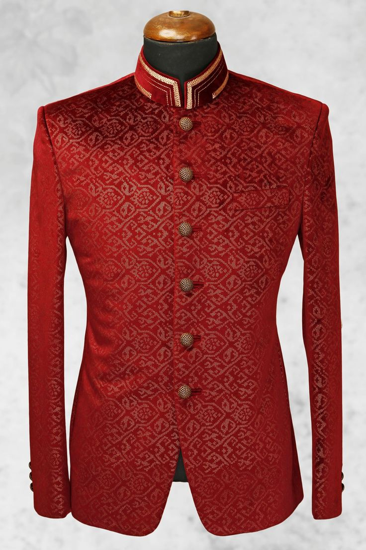 #Maroon rich #velvet suit with bandhgala collar-ST510