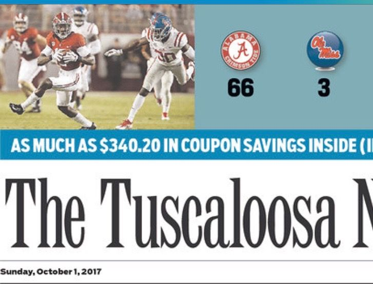 Front page of The Tuscaloosa News after Bama's dominant win! Alabama 66 Ole Miss 3 #Alabama #RollTide #Bama #BuiltByBama #RTR #CrimsonTide #RammerJammer