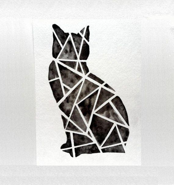 Geometric Black Cat Original Watercolor Painting by prettyinc, $25.00