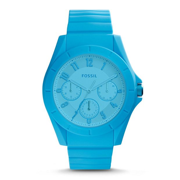For an athleisure watch that works from the office to the gym (and everywhere in between), this blue multifunction boasts sleek silicone, a complementary dial and Arabic numerals.