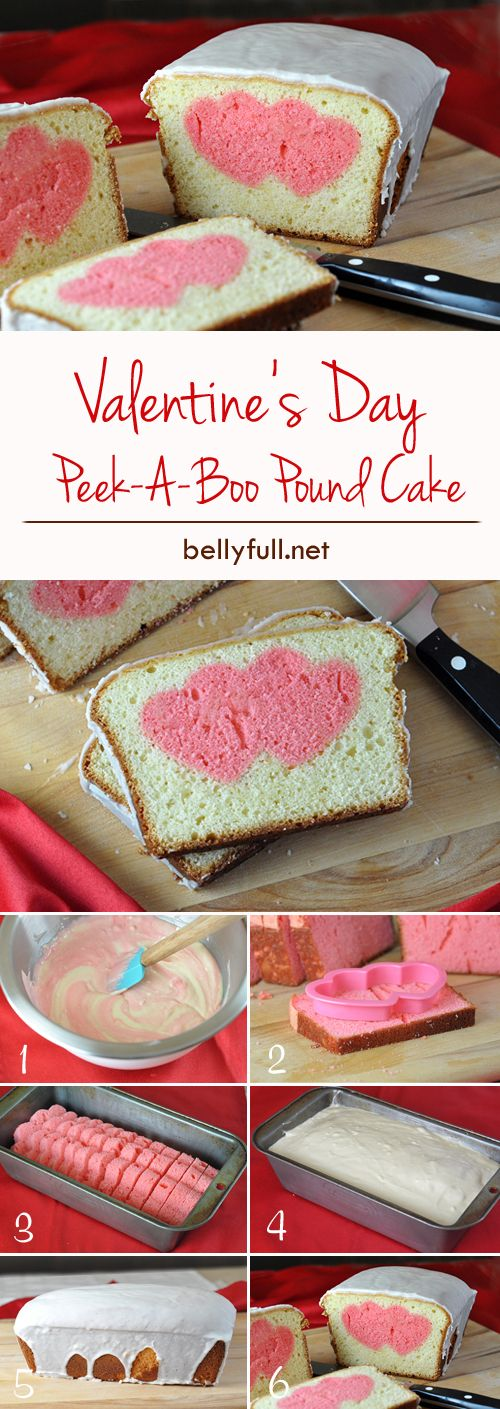 A heart filled surprise in every slice. Mix pink food coloring into your cake batter and bake. Slice and use a cookie cutter to cut hearts. Fill the pan with the hearts in a line and pour the non-dyed batter over the top and bake. Slice and serve for a memorable Valentine's Day dessert.