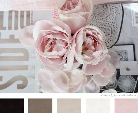 Gorgeous peony hues. The blush pink and taupes scream Soft Summer...but then that cocoa and the deep almost-black say Deep Winter. I say this is a great Soft Winter palette, combining the best of both seasons.