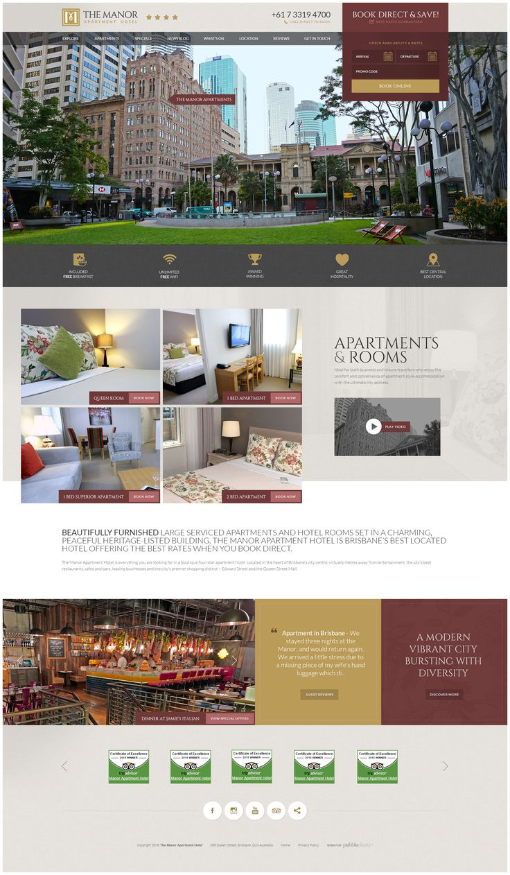 "Manor Apartment Hotel's brand new revamped website has just recently gone live!  ""Beautifully furnished large serviced apartments and hotel rooms set in a charming, peaceful heritage-listed building.""  See more - http://pebbledesign.com/our-work Site - http://www.manorapartments.com.au/"