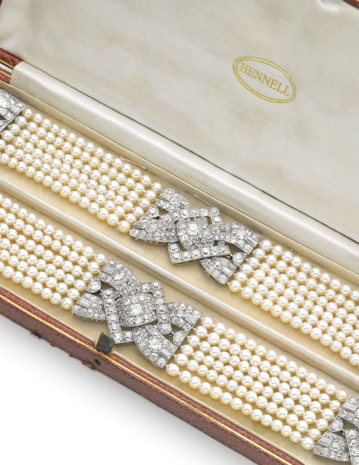Pair of natural pearl and diamond bracelets, 1930s, and six loose natural pearls | Lot | Sotheby's