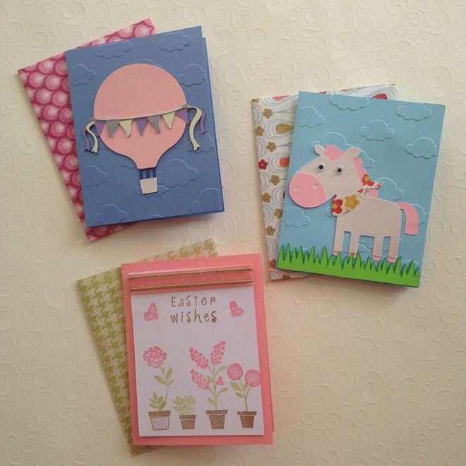 Χειροποίητες κάρτες & φάκελοι - Άλογο, Αερόστατο, Πάσχα / Cards and envelopes - Horse, Hot air balloon, easter wishes