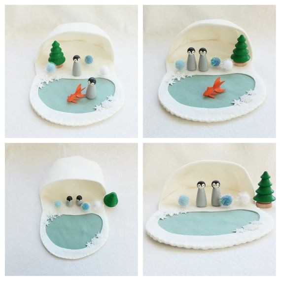 Penguin Peg Doll Cave Playscape Play Mat Set by MyBigWorld2015                                                                                                                                                                                 More
