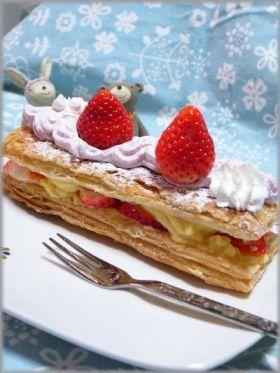 「冷凍パイシートでいちごのミルフィーユ」-お菓子ミルフィーユの簡単な作り方