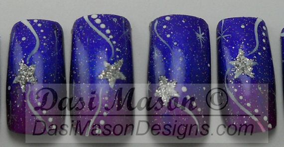 Catch a Falling Star Instant Acrylic Nail Set on Etsy, $10.00