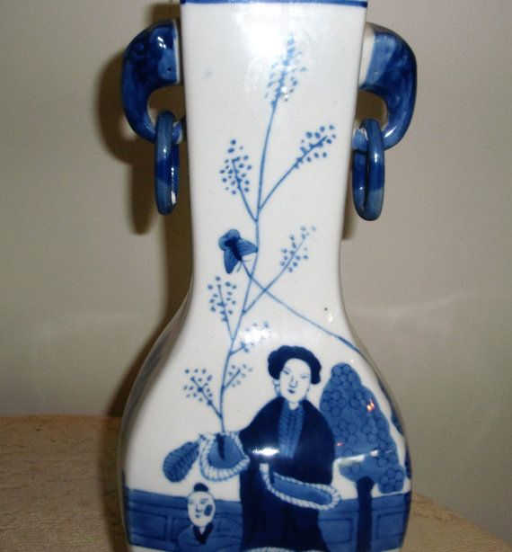 Blue and White China Vase Asian Vase with Asian Mother and