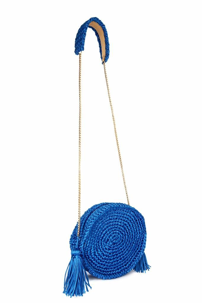 "Information: - Round shaped crochet bag - Material: satin thread (100% polyester) and a thinner thread ""in ton sur ton"" on the lid (100% polypropylene) - Zipper closure - Golden metal chain strap with"