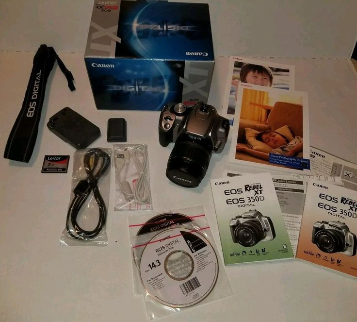 Canon EOS Digital Rebel XT EOS 350D 8MP Digital SLR Camera silver boxed contents #Canon