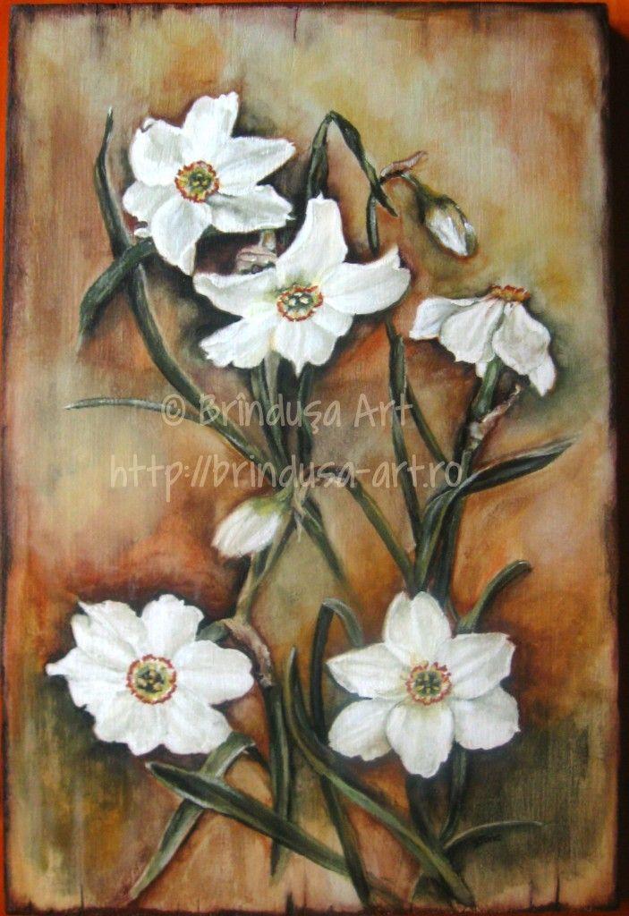 Brîndușa Art White daffodils (narcissus), acrylic painting on wood. Narcise albe, pictură pe lemn, în culori acrilice. #flowers #daffodils