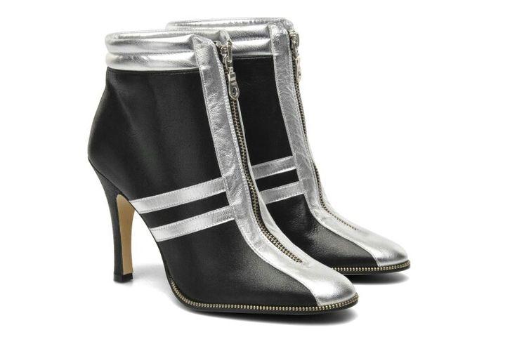 """Terry de Havilland Black & Silver Ankle Boots """"Disco"""" - Sarenza"""