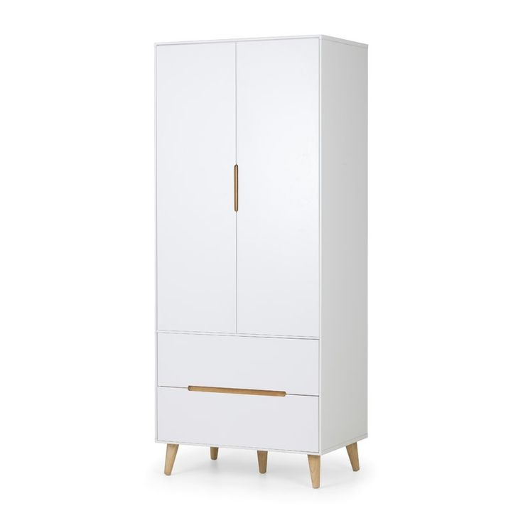 A stylish combination wardrobe with 2 drawers in an immaculate matt white lacquered finish, with complementary tapered oak finish legs and recessed  handles to provide easy opening. The sleek Scandinavian feel fits beautifully with any decor.