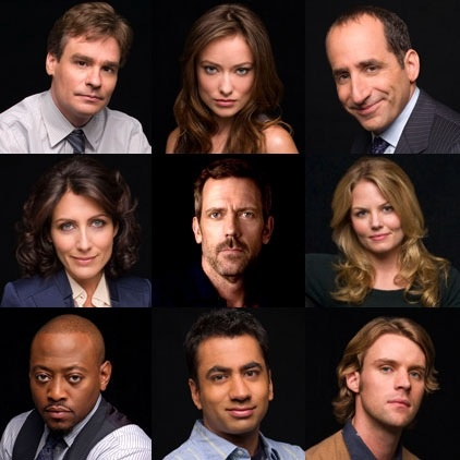 The Cast of House, Season 4: Robert Sean Leonard, Olivia Wilde, Peter Jacobson, Lisa Edelstein, Hugh Laurie, Jennifer Morrison, Omar Epps, Kal Penn, Jesse Spencer.