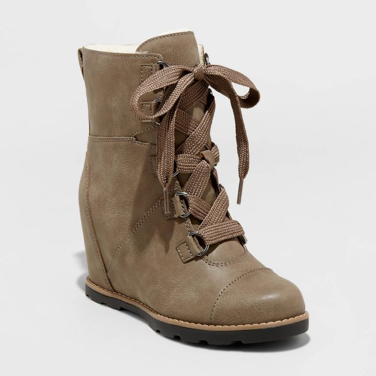 Women's Katherine Faux Leather Lace-Up Wedge Boots – Universal Thread Gray 11 – Products