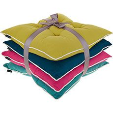 Set Of Four Multicoloured Seat Pads 40x40cm
