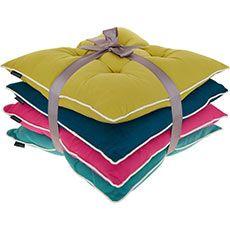 Set Of Four Multicoloured Seat Pads 40x40cm