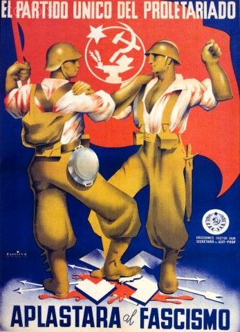 Spanish Civil War poster for the Spanish Communist Party, claiming that it is the only party that represents the proletariat and showing two workers stomping on fascist and Nazi symbols (1930s)//FEB16